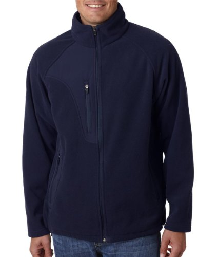 - UltraClub 8495 Adult Full-Zip Micro-Fleece Jacket With Pocket - Navy/ Navy - Large