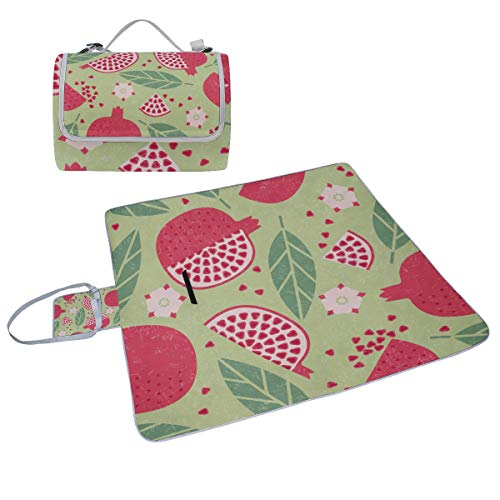 - Family Picnic Blanket Handy Tote Pomegranate Fruit Red Creative Design Single Side Printing Foldable Sandproof Waterproof Camping Mat for Outdoor Beach Hiking Grass Travel Outings