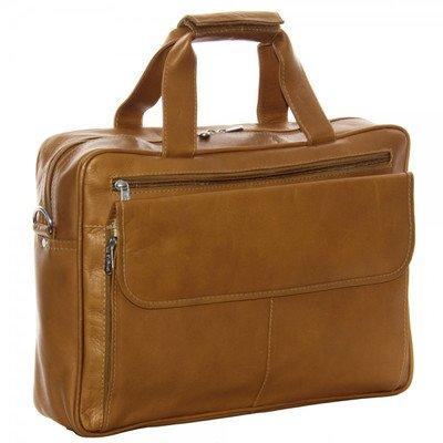 (Piel Leather Slim Top-Zip Briefcase, Chocolate)