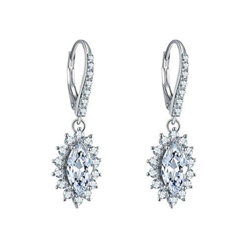 AmDxD Jewelry 925 Sterling Silver Custom Make Earring Women Drop Earrings Sunflower Oval CZ Inlaid (Zazu Costume)