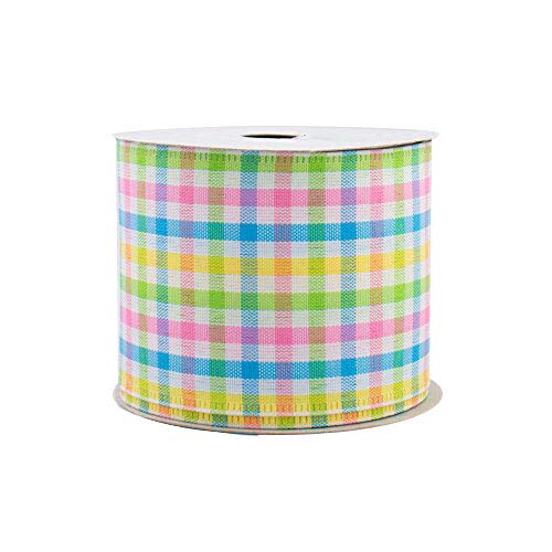 Easter Pastels Gingham Wired Ribbon - 2 1/2 x 10 Yards, Spring, Summer, Wedding D