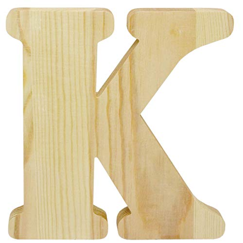 8 inch Chunky Unfinished Wood Letter K