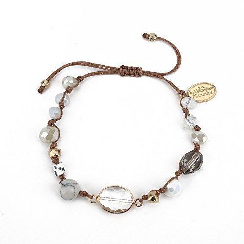 Niumike Handwoven Crystal Bracelets Adjustable Beaded Charm Bracelet With Free Flannel Bag (Brown) -
