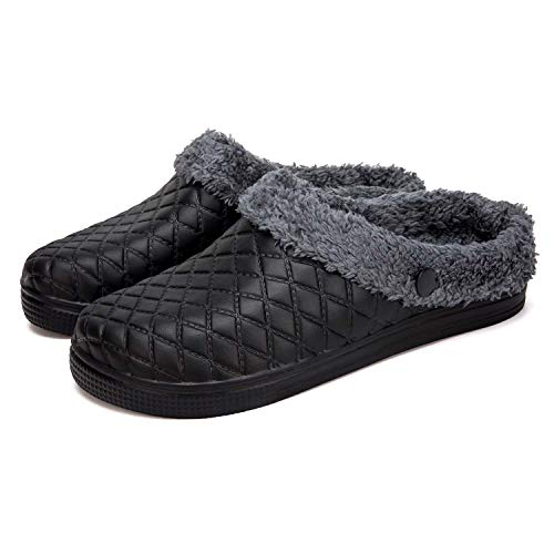 Lined Slipper Lined Clog House Home Shoes Room Indoor Winter Warm Fur Lined Fleece Slip On Clogs Fuzzy Fleece Slip On Comfort Women Men Ladies Girls Boy Black 38