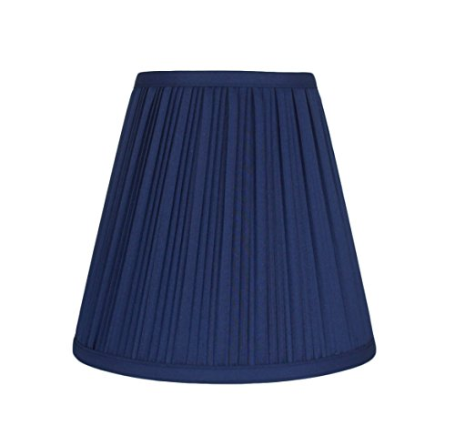 Urbanest Hardback Pleated Faux Silk Empire Lamp Shade, 5-inch by 9-inch by 8.5-inch, Navy Blue - Blue Pleated Floor Lamp