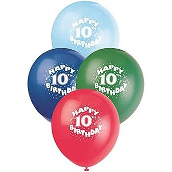 12 Latex Happy 10th Birthday Balloons