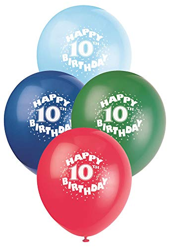 12 Latex Happy 10th Birthday Balloons, 6ct