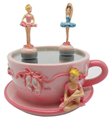 Lightahead Musical Skating Ballerina Figurine in a Mini Cup Shaped Music Box with Ballerinas Skating On The Pond in Poly resin (Mini Music Box)