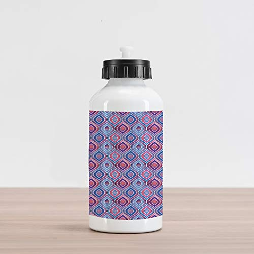 Lunarable Bohemian Aluminum Water Bottle, Abstract Ornamental Pattern with Folkloric Batik Tiles Dotted Oval Shapes, Aluminum Insulated Spill-Proof Travel Sports Water Bottle, Blue Purple Pink