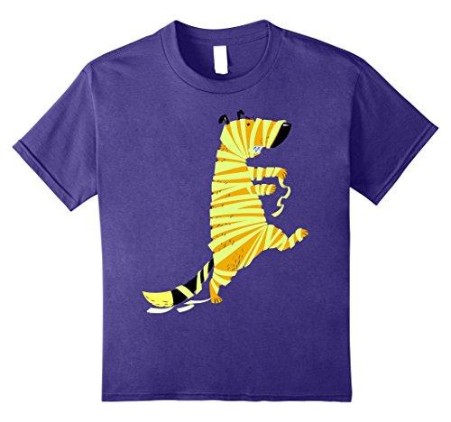 Kids Funny Halloween Cartoon Dog in Costume of Mummy T-shirt 10 Purple