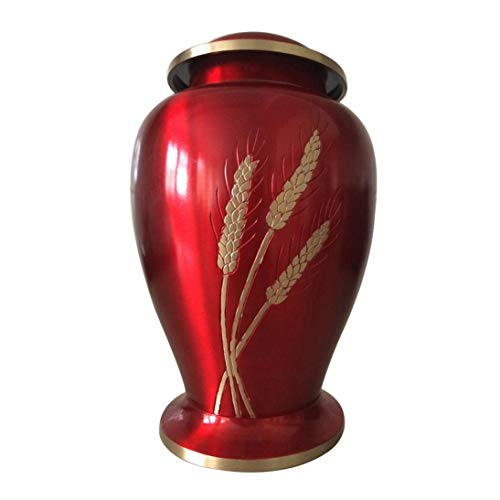 Cremation Urns Red Color Adult for Human Ashes with Large Autumn -