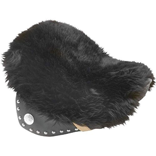 (Black Genuine Sheepskin Cruiser Motorcycle Bike Seat Biker Cushion Cover Pad)