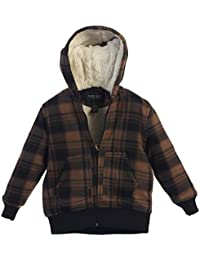 Boys Flannel Hoodie Jacket with Sherpa Lining