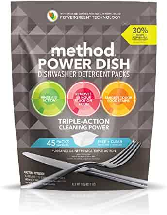 Method Power Dish Dishwasher Soap Packs, Free + Clear, 45 Count (Package may vary)