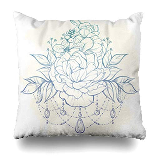 (ArtsDecor Throw Pillow Covers Floral Magic Vintage Boho in Ornate Flowers Greeting Leaves Sticks Buds Beads On Watercol Tattoo Home Decor Cushion Square Size 18
