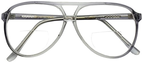Fade Transparent 80s Vintage Tear Drop Aviator Reading Glasses Bi-Focal Rx Power +100 - +375 (Transparent Grey, 1.50)