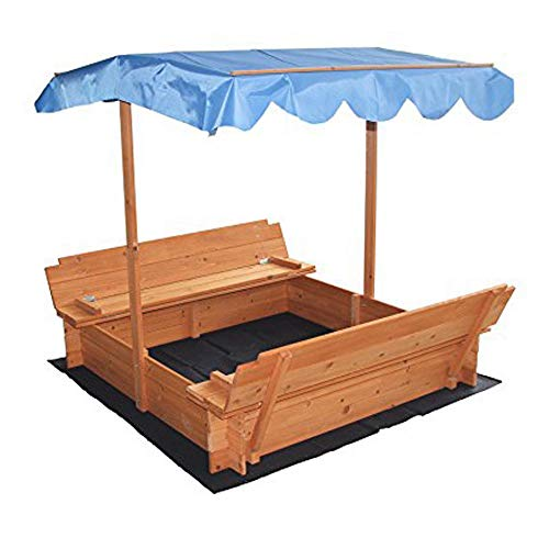 Globe House Products GHP Natural Color Fir Wood & Non-Woven Rust-Resistant 2 Bench Seats Sandbox w Canopy