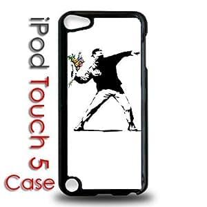 Diy TRDJGOO iPod 5 Touch Black Plastic Case Banksy Throwing Flowers Street Art