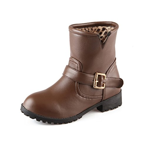 Allhqfashion Women's Mid Top Solid Pull-On Round Closed Toe Low Heels Boots Brown HjXlH