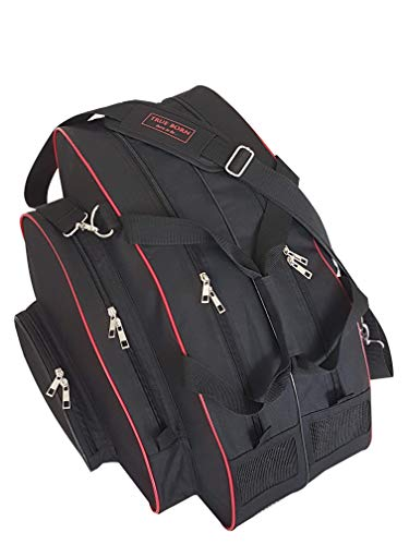 TRUE BORN Skate Bag - Ice Skating, Inline, Rollerblade, Ski, Snowboard Boot, Sports - Adults, Men, Women, Kids - Premium Bag for Sports Equipment (Black with red Trim)
