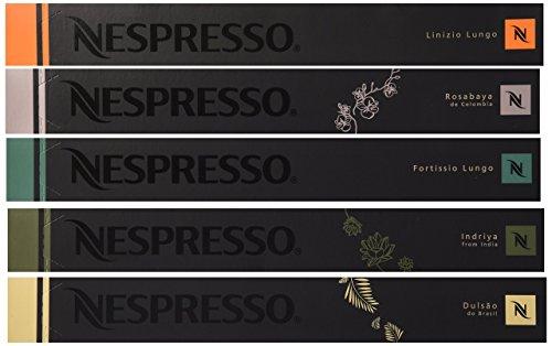 50 Nespresso OriginalLine Capsules - Luxury MIXED (New Linizio Lungo, Rosabaya, Dulsao, Indriya, Fortissio Lungo) - ''NOT compatible with Vertuoline'' - Nespresso Capsule