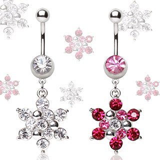 316L Surgical Steel Navel Ring with Snowflake Dangle;Clear;Sold individually