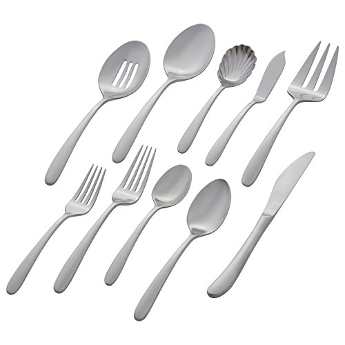 Stone & Beam Traditional Stainless Steel Flatware Silverware Set, Service for 8, 45-Piece, Silver with Satin - 45 Set Piece Matte