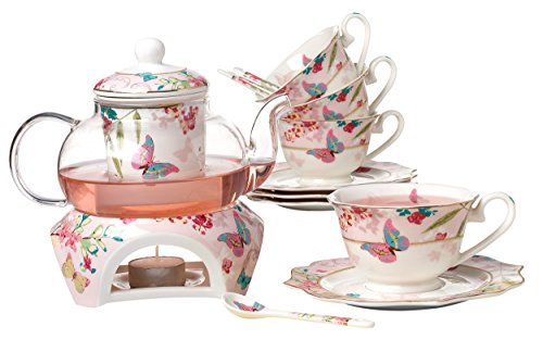 Jusalpha Fine Bone China Coffee Cups Flower Series Teacup Saucer Spoon with Teapot Warmer & Filter, 16 pcs in 1 set (FL-Glass pot 02)