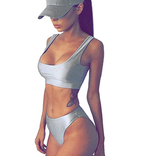 0c09ec7e87 Diamondo Sexy Swimsuit Women Strap Padded Push-Up High Waist Two-piece Bikini  Set (Silver