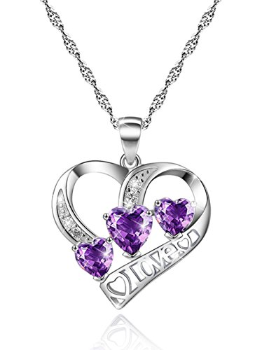 Sterling Silver Heart Necklace for Women Love Engraved Purple Cubic Zircon CZ Pendant Simulated Diamond Unique Valentine's Day Gifts For Her Anniversary Gifts for Her Gifts For Wife Girlfriend -