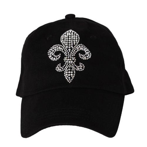 Womens Crystal Adjustable Baseball Cap Rhinestone Bling Hat (Black)