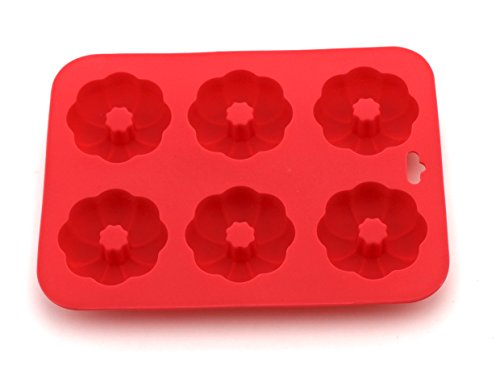 Anfimu Non-stick Silicone Flower Shaped Donuts Baking Maker Pan - Including a Bar in the Middle