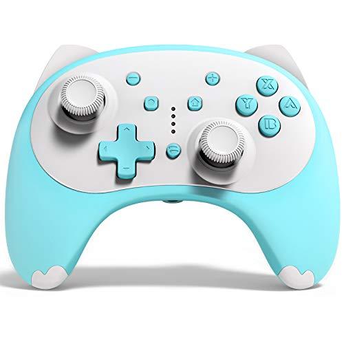 KINGEAR Controller für Switch/PC Geschenke für Frauen Geschenke für Männer, Wireless pro Controller Blau für Switch Spiele Mario, Viel Spaß mit Geschenke Graduation Controller für Switch