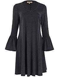 00db69fe2b Kate Kasin Women s Bell Sleeve Casual Loose Fit T-Shirt Dress