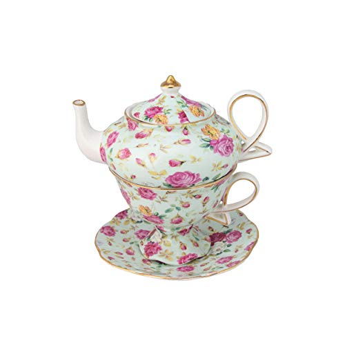- Gracie China by Coastline Imports 4-Piece Porcelain Tea for One, Stacked Teapot Cup Saucer, Blue Cottage Rose Chintz