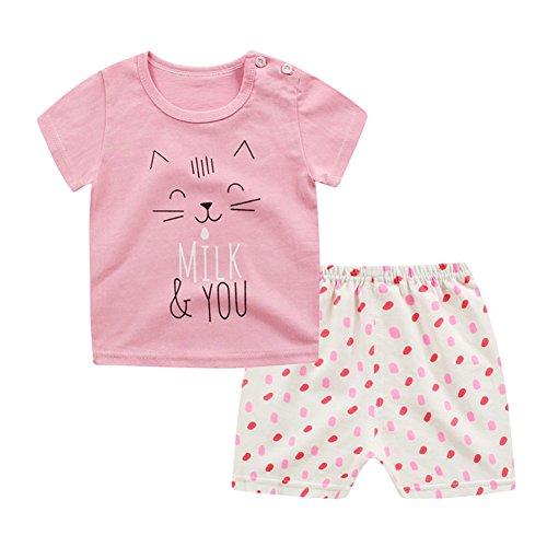 Tuta da bambino per bambini e ragazzi T-shirt da bambino con maniche corte + pantaloncini Set 2 pezzi in cotone stampato di Wongfon piccolo gatto rosa