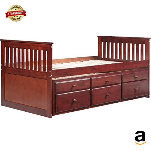 (MIERES 1 Captain's Twin Daybed with Trundle Bed and Storage Drawers, Walnut, Brown)