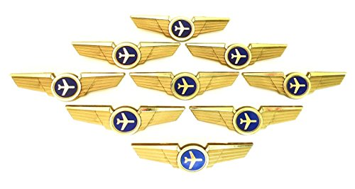Kids Aviator Pilot Wings Plastic Pins Pinbacks Badges Lot of 10 Pins