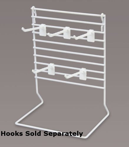 Small Countertop Peg Displayer White Finish Adjustable Hook Design 8''Wx6''Dx11''H