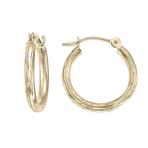 14k Yellow Gold Hand Engraved Full Diamond-cut Round Hoop Earrings for Girls-1/2 Inch Diameter (yellow-gold)