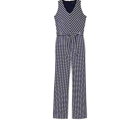 Banana Republic Blue and White Stripe Tie-Waste Jumpsuit -