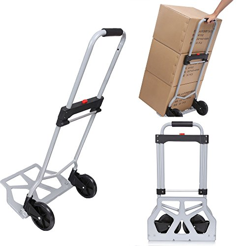 Heavy Duty Hand Truck & Dolly, 220 lb. Capacity Aluminum Portable Folding Luggage Utility Cart with2 Wheels for Shopping/Industrial/ Travel by Ferty