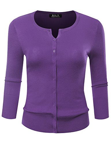 BILY Women's Round Neck Button Down 3/4 Sleeve Soft Classic Knit Cardigan Blueberry Petite Medium (One Button Sweater Petite)