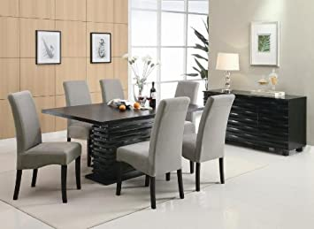 Brownville 7 Piece Dining Table Set In Rich Black With Gray Chairs