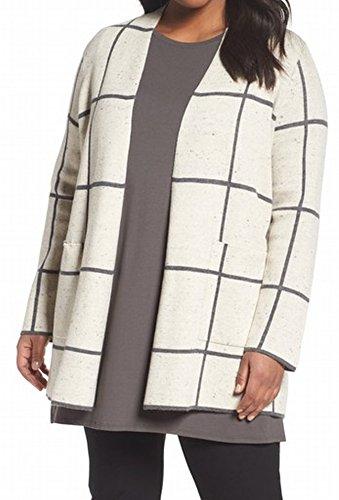 Eileen Fisher Women Plus Windowpane Cardigan Wool Sweater Beige (Eileen Fisher Wool Cardigan)
