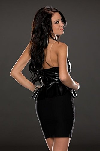 NEW Mesdames noir Wet Look Mini robe Bodycon péplum Club Wear Robe Soirée Taille UK 10–12–EU 38–40