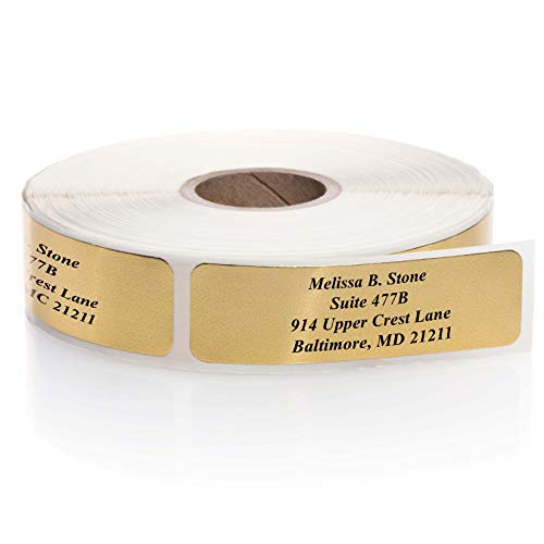 Shiny Gold Foil Rolled Address Labels Without Elegant Dispenser - Roll of 250