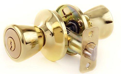 Lion Locks LIO0107 Tulip Keyed Entry Door Knob, Polished Brass, Gold