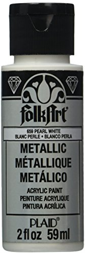 Metallic White Paint (FolkArt Metallic Acrylic Paint in Assorted Colors (2 oz), K659, Pearl White)