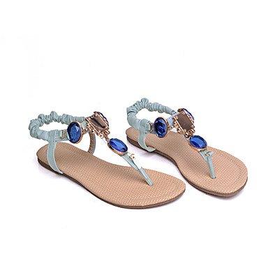 LvYuan Mujer-Tacón Plano-Zapatos del club Confort-Sandalias-Informal Vestido-Semicuero-Azul Rosa Beige beige